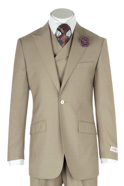 San Giovesse Tan Wide Leg, Pure Wool Suit & Vest by Tiglio Rosso TIG1004