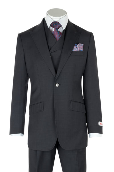 San Giovesse Slate Gray Wide Leg, Pure Wool Suit & Vest by Tiglio Rosso TIG1008  Tiglio - Italian Suit Outlet