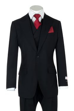 San Giovesse Black Wide Leg, Pure Wool Suit & Vest by Tiglio Rosso TIG1001