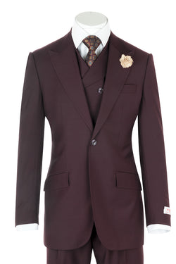 San Giovesse Burgundy Wide Leg, Pure Wool Suit & Vest by Tiglio Rosso