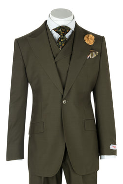 San Giovesse Olive Wide Leg, Pure Wool Suit & Vest by Tiglio Rosso