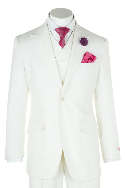 San Giovesse Offwhite Wide Leg, Pure Wool Suit & Vest by Tiglio Rosso  Tiglio - Italian Suit Outlet