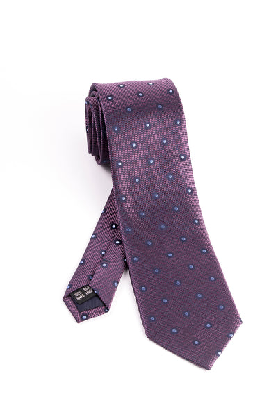Pure Silk Fuchsia and Navy Mini Check with Light Blue and Navy Polka-Dots Tie by Tiglio Luxe  Tiglio - Italian Suit Outlet