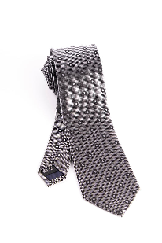 Pure Silk Black and White Check with Black and White Polka-Dots Tie by Tiglio Luxe  Tiglio - Italian Suit Outlet