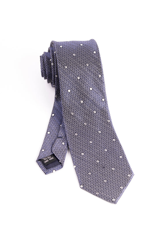 Blue and White with White Polka-Dots Tie by Tiglio Luxe  Tiglio - Italian Suit Outlet