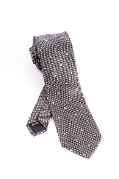 Black and White with White Polka-Dots Tie by Tiglio Luxe  Tiglio - Italian Suit Outlet