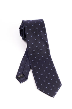 Pure Silk Navy with Light Blue Polka-Dots Tie by Tiglio Luxe