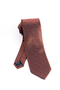 Pure Silk Rust Brown with Navy Polka-Dots Tie by Tiglio Luxe