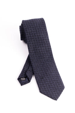Pure Wool Navy with Windowpane Pattern Tie by Tiglio Luxe  Tiglio - Italian Suit Outlet