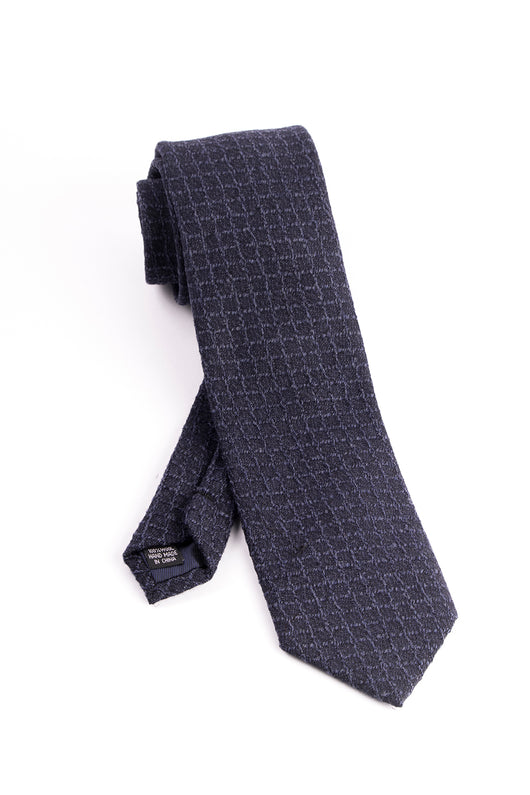 Pure Wool Navy with Windowpane Pattern Tie by Tiglio Luxe