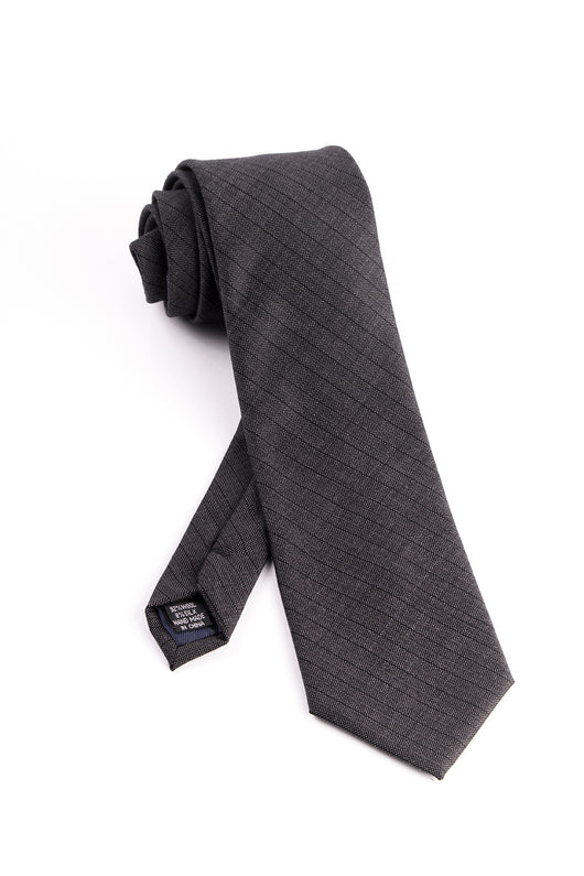 Gray with Black and Gray Slanted Lines Tie by Tiglio Luxe  Tiglio - Italian Suit Outlet