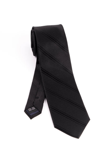 Pure Silk Black with Black Slanted Lines Tie by Tiglio Luxe  Tiglio - Italian Suit Outlet