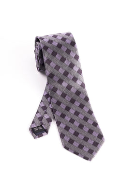 Pure Silk Gray, Pink and Purple Check Pattern Tie by Tiglio Luxe  Tiglio - Italian Suit Outlet