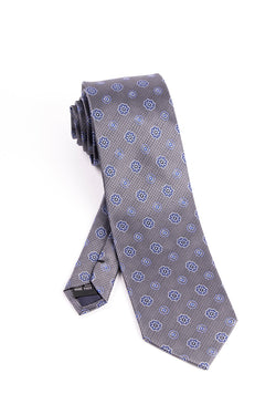 Pure Silk Gray with Blue and White Flower Pattern Tie by Tiglio Luxe  Tiglio - Italian Suit Outlet