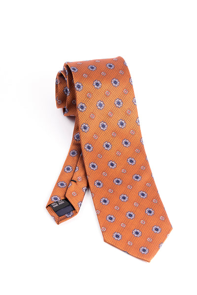 Pure Silk Rust with Blue and White Flower Pattern by Tiglio Luxe  Tiglio - Italian Suit Outlet