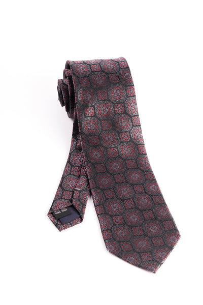 Pure Silk Gray, Russet and Pink Pattern Tie by Tiglio Luxe  Tiglio - Italian Suit Outlet