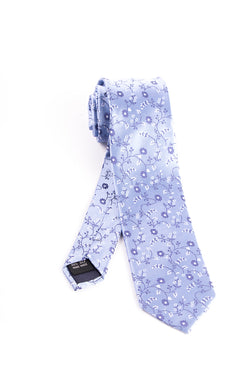 Pure Silk Light Blue with Navy Floral Pattern Slim Tie by Tiglio Luxe  Tiglio - Italian Suit Outlet
