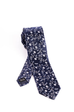 Pure Silk Navy with White and Light Blue Floral Pattern Slim Tie by Tiglio Luxe