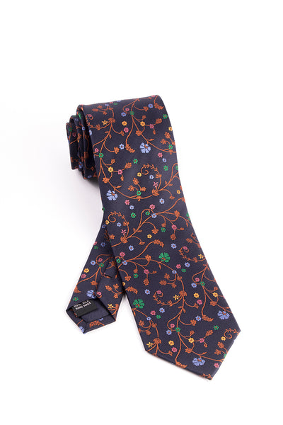 Pure Silk Navy with Multi-Color Floral Pattern Tie by Tiglio Luxe  Tiglio - Italian Suit Outlet