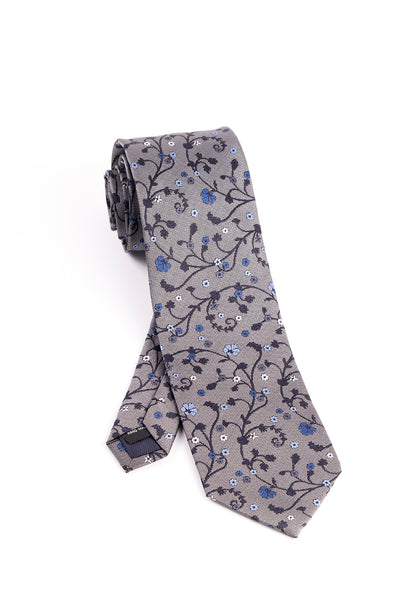 Pure Silk Gray with Navy, Blue and White Floral Pattern Tie by Tiglio Luxe  Tiglio - Italian Suit Outlet
