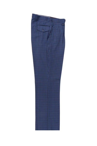 Blue with Brown and Navy checkered Wide Leg, Pure Wool Dress Pants by Tiglio Luxe LG8876M/300/1  Tiglio - Italian Suit Outlet