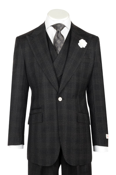 NEW ROSSO Charcoal gray windowpane overcheck Wide Leg Pure Wool Suit & Vest by Tiglio Rosso LL2859/536/4  Tiglio - Italian Suit Outlet