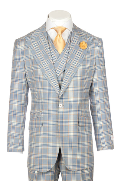 NEW ROSSO Wash blue with orange, white, navy windowpane Wide Leg Pure Wool Suit & Vest by Tiglio Rosso LQ202/28/1  Tiglio - Italian Suit Outlet