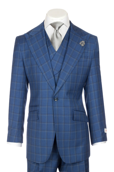 NEW ROSSO New blue with light gray and navy windowpane Wide Leg Pure Wool Suit & Vest by Tiglio Rosso LR74299/2  Tiglio - Italian Suit Outlet