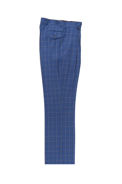 French blue with white & navy windowpane Wide Leg, Pure Wool Dress Pants by Tiglio Luxe LR74299/2  Tiglio - Italian Suit Outlet