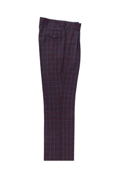 Burgundy with blue windowpane Wide Leg, Pure Wool Dress Pants by Tiglio Luxe LR74299/3  Tiglio - Italian Suit Outlet