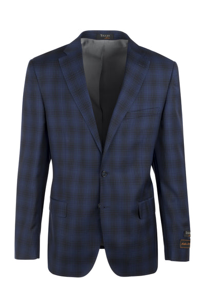 Dolcetto Midnight blue with black windowpane Modern Fit, Pure Wool Jacket by Tiglio Luxe LR74309/1  Tiglio Luxe - Italian Suit Outlet