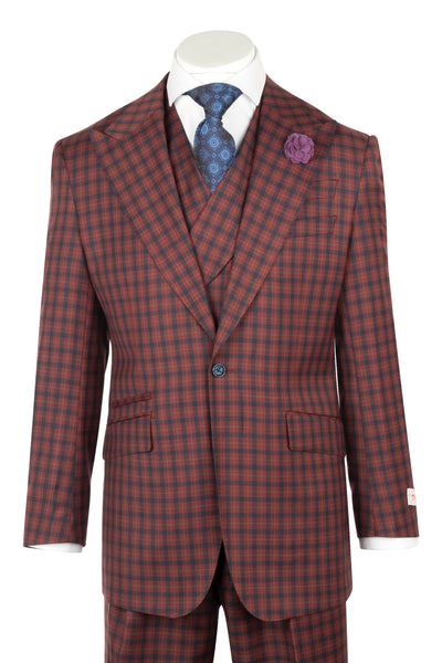 NEW ROSSO Rust with navy blue and light blue checkered Wide Leg Pure Wool Suit & Vest by Tiglio Rosso LR74317/7  Tiglio - Italian Suit Outlet