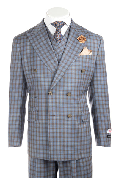 EST Light Blue with Golden Brown Mini-Windowpane Wide Leg, Pure Wool Suit & Vest by Tiglio Rosso LT55218/1  Tiglio - Italian Suit Outlet