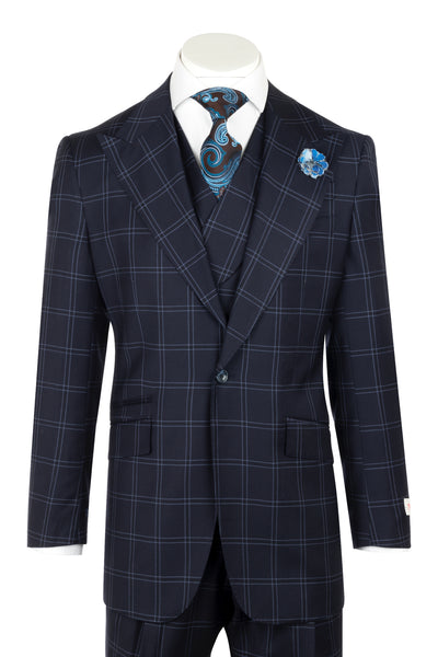 NEW ROSSO Navy with light windowpane Wide Leg Pure Wool Suit & Vest by Tiglio Rosso LV13.779/4  Tiglio - Italian Suit Outlet
