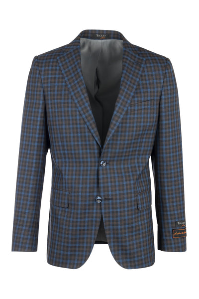 Dolcetto Blue jean with camel and brown checkered Modern Fit, Pure Wool Jacket by Tiglio Luxe LV47862/2  Tiglio Luxe - Italian Suit Outlet