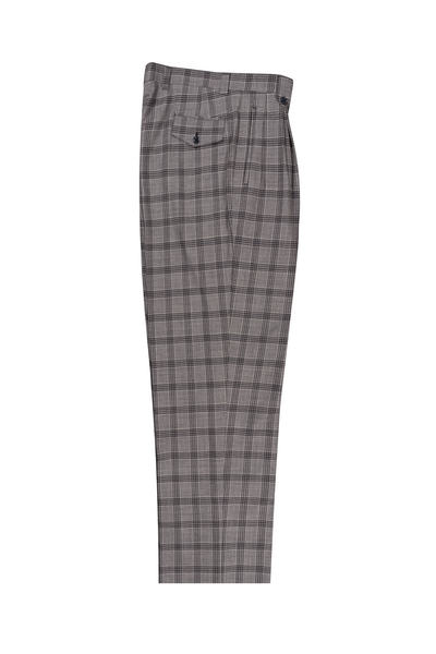 Gray with white Windowpane Wide Leg, Pure Wool Dress Pants by Tiglio Luxe LV7347764/400  Tiglio - Italian Suit Outlet