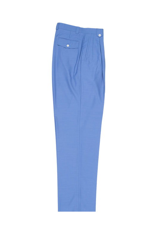 Medium Blue Wide Leg, Pure Wool Dress Pants by Tiglio Luxe  Tiglio - Italian Suit Outlet