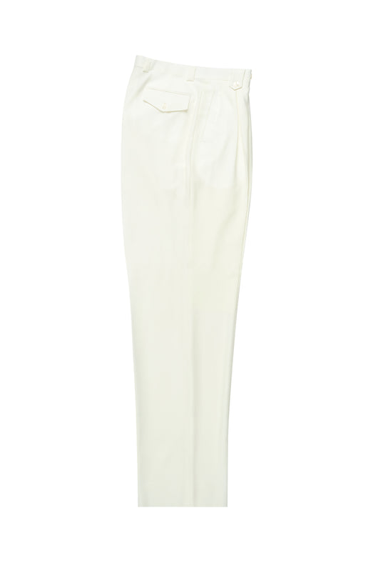 Offwhite Wide Leg, Pure Wool Dress Pants by Tiglio Luxe  Tiglio - Italian Suit Outlet