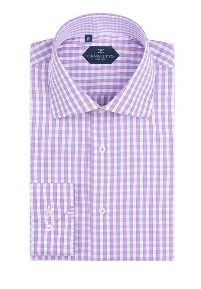 Lavender and White Check Dress Shirt, Regular Cuff, by Canaletto Platino/269/10  Canaletto - Italian Suit Outlet