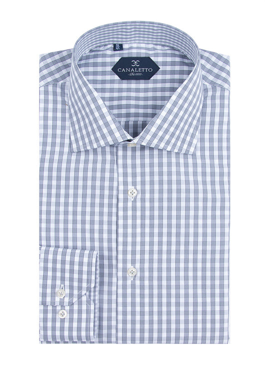 Light Gray and White Check Dress Shirt, Regular Cuff, by Canaletto  Canaletto - Italian Suit Outlet