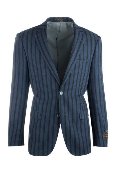 Sangria Royal Blue with Navy and Green Stripes Pure Wool Jacket by Tiglio Luxe R4373/1  Tiglio - Italian Suit Outlet