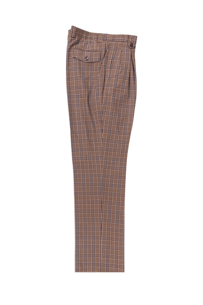 Mauve with f.blue and red windowpane Wide Leg, Pure Wool Dress Pants by Tiglio Luxe R7404/2  Tiglio - Italian Suit Outlet