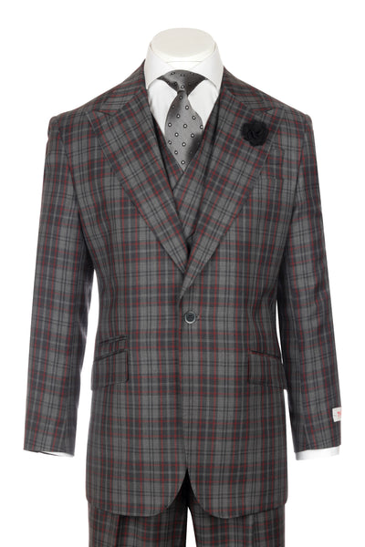 NEW ROSSO Gray and dark gray checkered with red windowpane Wide Leg Pure Wool Suit & Vest by Tiglio Rosso R7412/6  Tiglio - Italian Suit Outlet