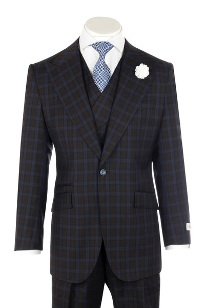 NEW ROSSO Brown with black checkered navy windowpane Wide Leg Pure Wool Suit & Vest by Tiglio Rosso R7413/3  Tiglio - Italian Suit Outlet