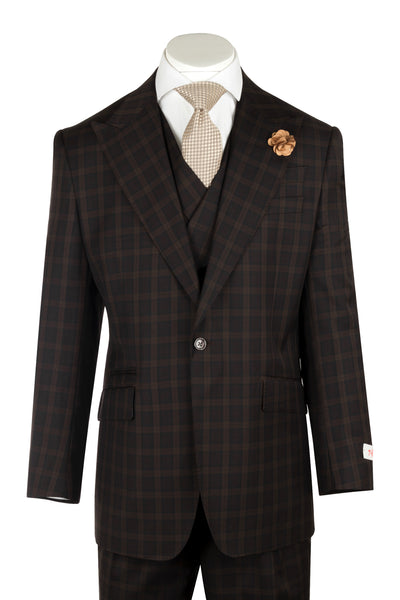 NEW ROSSO brown with taupe windowpane Wide Leg Pure Wool Suit & Vest by Tiglio Rosso R7413/4  Tiglio - Italian Suit Outlet