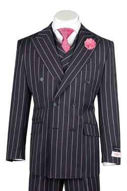 EST Navy Blue with Salmon Stripes Wide Leg, Pure Wool Suit & Vest by Tiglio Rosso R7464/1  Tiglio - Italian Suit Outlet