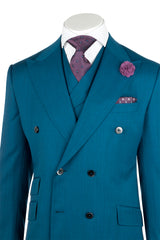 EST Teal Wide Leg, Pure Wool Suit & Vest by Tiglio Rosso R899611/4500  Tiglio - Italian Suit Outlet