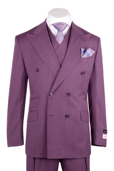 EST Raspberry Wide Leg, Pure Wool Suit & Vest by Tiglio Rosso R899611/4504  Tiglio - Italian Suit Outlet