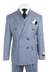 EST Blue with Black and White Mini Houndstooth/Check Pattern Wide Leg, Pure Wool Suit & Vest by Tiglio Rosso RB334/134/9  Tiglio - Italian Suit Outlet