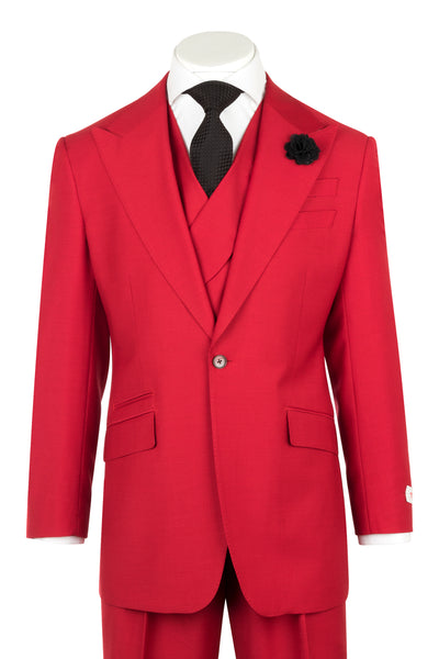 NEW ROSSO Red Wide Leg Pure Wool Suit & Vest by Tiglio Rosso RED  Tiglio - Italian Suit Outlet